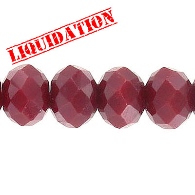Machine cut glass beads, 12mm, faceted rondelle, approx. hole size 2.15mm, opaque red, 7 inch strand