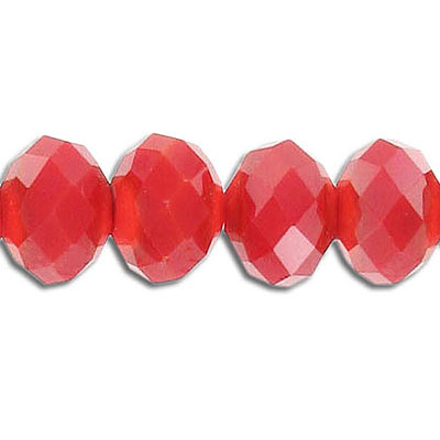 Machine cut glass beads, 12mm, rondelle, opaque red, 8 inch strand