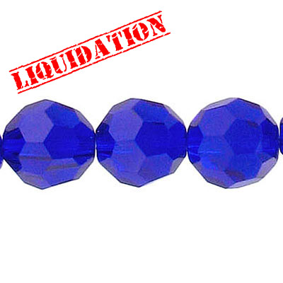 Machine cut glass beads, 12mm, faceted round, 8 inch strand, sapphire