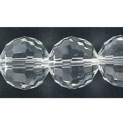 Czech machine cut glass beads, 18mm, 96 facets, round, approx. hole size 1-1.20mm, 8 inch strand, crystal