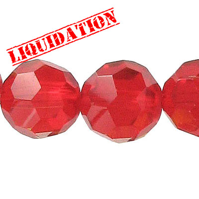Machine cut glass beads, 18mm, faceted round, 8 inch strand, light siam