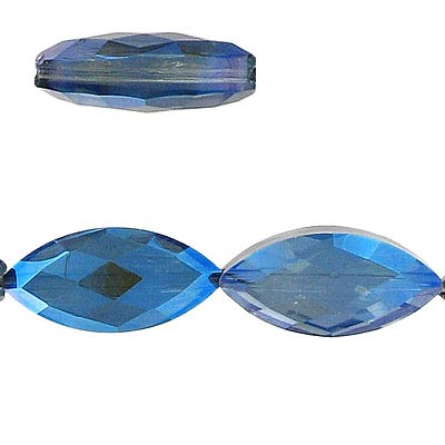Machine cut glass beads, faceted, navette, blue-grey, 25mm, 7 inch strand