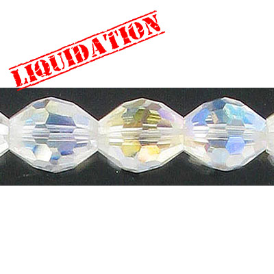 Machine cut glass beads, 16x12mm, faceted oval, 7 inch strand, AB crystal