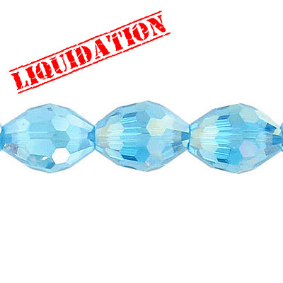 Czech machine cut glass beads, 16x12mm, faceted oval, 7 inch strand, AB aqua