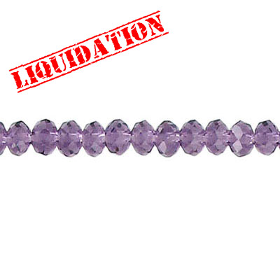 Machine cut glass beads, faceted, rondelle, amethyst, 4mm, 7 inch strand