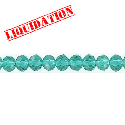 Machine cut glass beads, faceted, 4mm, rondelle, blue zircon, 8 inch strand