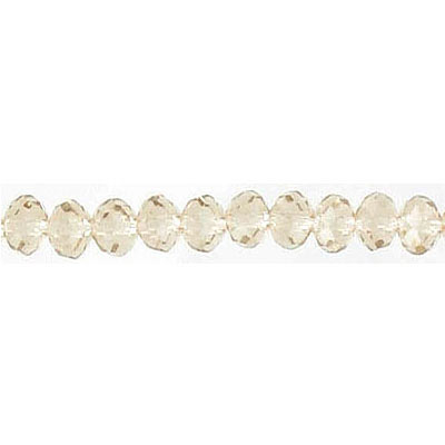 Machine cut glass beads, faceted, rondelle, smoked topaz, 4mm, 7 inch strand