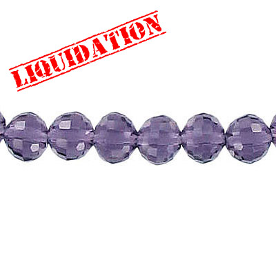 Machine cut glass beads, 6mm, faceted (96), amethyst, 8 inch strand