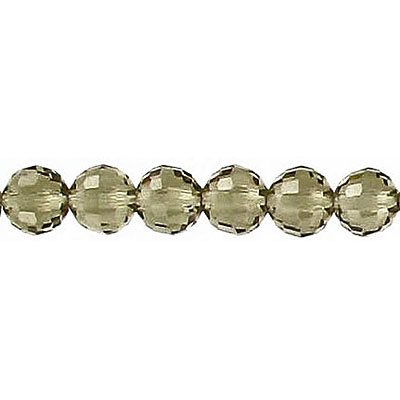 Machine cut glass beads, 6mm, faceted (96), black diamond, 8 inch strand