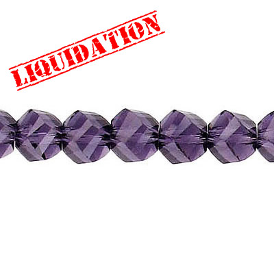 Machine cut glass beads, faceted, twist (helix), 7 inch strand, 32 pieces, 6mm, amethyst