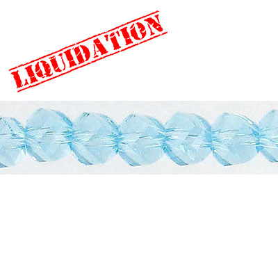 Machine cut glass beads, faceted, twist (helix), 7 inch strand, 32 pieces, 6mm, aqua