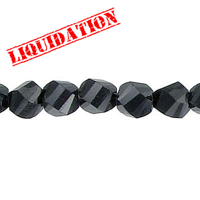 Machine cut glass beads, 6mm, faceted, twist (helix), jet black, 7 inch strand
