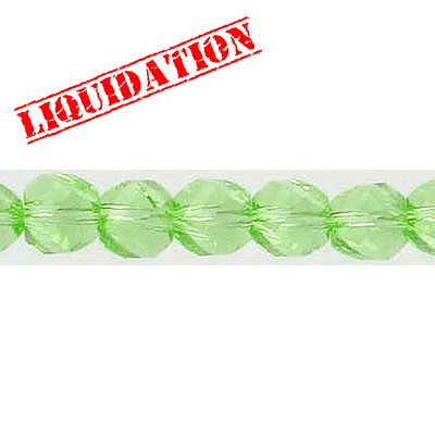 Machine cut glass beads, faceted, twist (helix), 7 inch strand, 32 pieces, 6mm, peridot