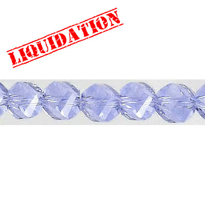 Machine cut glass beads, faceted, twist (helix), 7 inch strand, 32 pieces, 6mm, violet (blue)