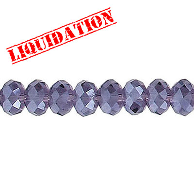 Machine cut glass beads, 6mm, faceted rondelle briolette, 7 inch strand, amethyst