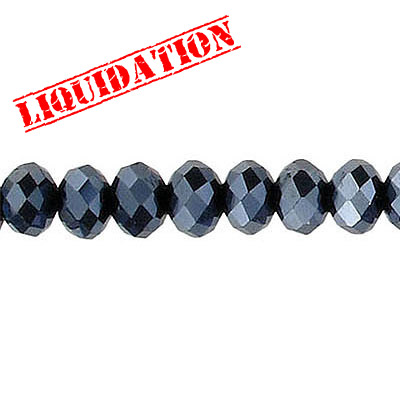 Machine cut glass beads, 6mm, faceted rondelle briolette, 7 inch strand, hematite