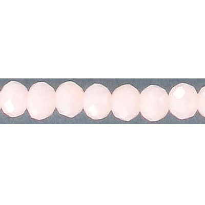 Machine cut faceted glass beads, 6mm, rondelle, opaque pink, 8 inch strand