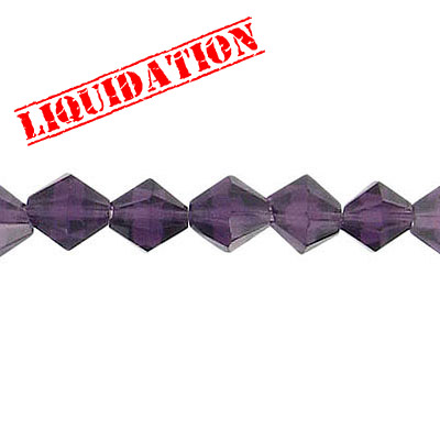 Machine cut glass beads, 6x6mm, bicone, 8 inch strand, tanzanite