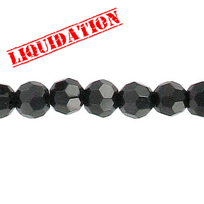 Machine cut glass beads, 6mm, faceted round, 8 inch strand, jet black