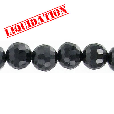 Machine cut glass beads, 8mm, 96 facets, jet black color, 7 inch strand