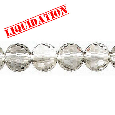 Machine cut glass beads, 8mm, faceted round, 96 facets, crystal silver night, 8 inch strand