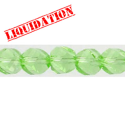 Machine cut glass beads, faceted, twist (helix), 7 inch strand, 28 pieces, 8mm, peridot