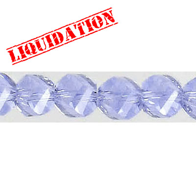 Machine cut glass beads, faceted, twist (helix), 7 inch strand, 28 pieces, 8mm, violet (blue)