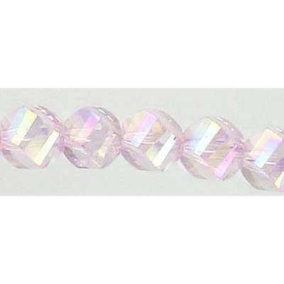 Czech machine cut glass beads, 8mm, faceted, 7 inch strand, AB light rose