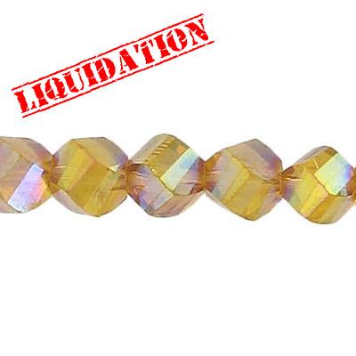 Czech machine cut glass beads, 8mm, faceted, 7 inch strand, AB smoked topaz