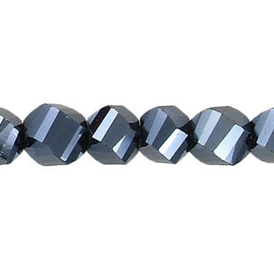 Machine cut glass beads, faceted (28), twist (helix), hematite, 7 inch strand