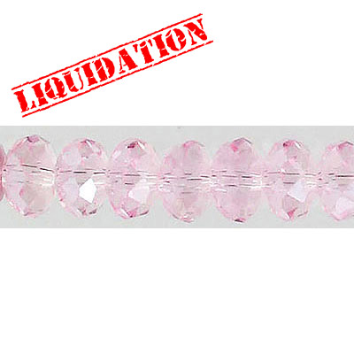 Machine cut faceted glass beads, 8mm, rondelle, light pink, 8 inch strand