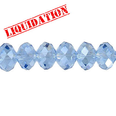 Machine cut glass beads, 8mm, faceted rondelle briolette, 7 inch strand, light sapphire