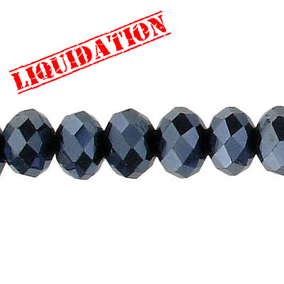 Machine cut glass beads, 8mm, faceted rondelle briolette, 7 inch strand, hematite