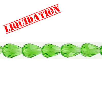 Machine cut glass beads, faceted pear, 7 inch strand, fern green