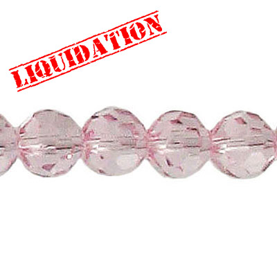 Machine cut glass beads, 8mm, faceted round, 8 inch strand, light rose