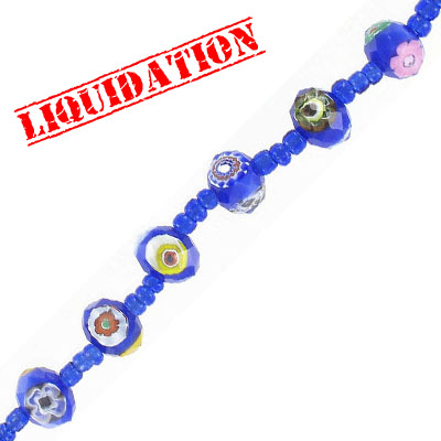 Glass beads, mollefiori, 9x12mm, rondelle, royal blue, 7 inch strand, 10 beads