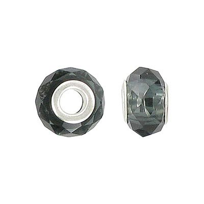 Glass bead, faceted large hole, pandora style, morion