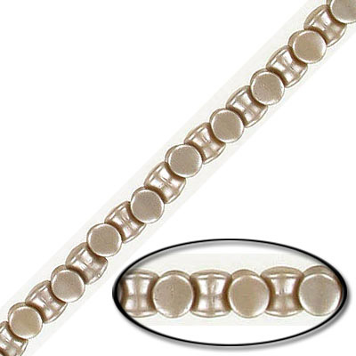 Glass beads, 4x6mm, pellet, pearl taupe, 44 beads