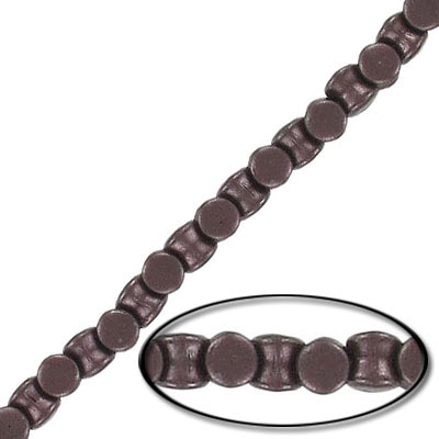Glass beads, 4x6mm, pellet, pearl brown, 44 beads