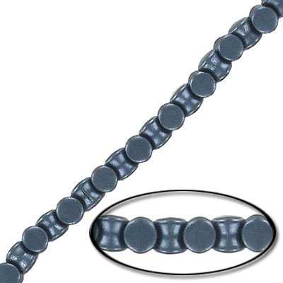 Glass beads, 4x6mm, pellet, pearl black, 44 beads
