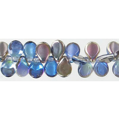 Pip glass beads, 5x7mm, bermuda blue, 7 inch strand