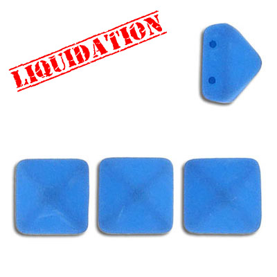 Glass pyramid beads, 12mm, 2 rows (holes), neon blue
