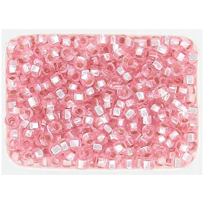 Seed beads, pink silver lined loose rocailles
