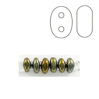 Twin rocaille beads, 2-hole, brown iris