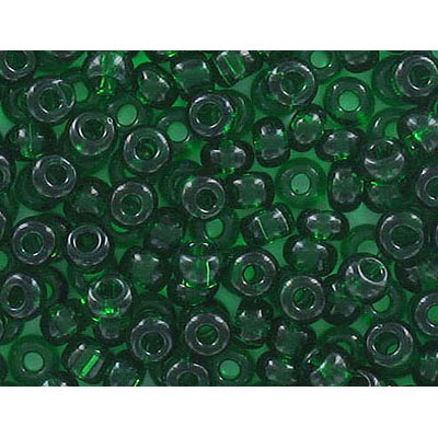 Seed beads, rocaille, green transparent