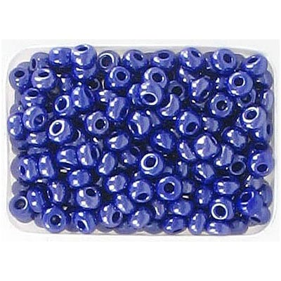 Seed beads, rocaille opaque blue luster natural