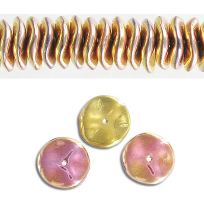 Glass ripple bead, 12mm, pink, 30 beads per strand