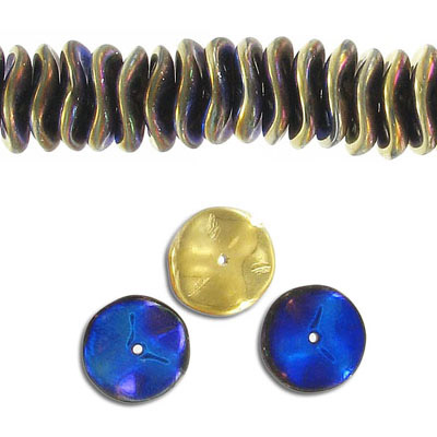 Glass ripple bead, 12mm, blue, 30 beads per strand