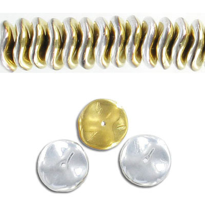 Glass ripple bead, 12mm, silver, 30 beads per strand