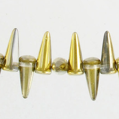 Glass spike beads, 13mm, 5 strands of 36 beads each, crystal amber